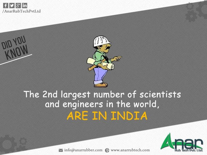 The 2nd largest number of scientists and engineers in the world, Are In India  #Rubberrollerforlamination #MetalExpanderRoller #LeafTypeAirExpandingShaft  #RubberRoller   #RubberExpander     #SafetyChuck    #AirExpandingShaft   #PURoller     #AirShafts   #AnarRubTechPvtLtd