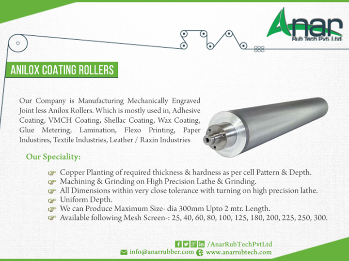 Anar Rub Tech,  manufacturing, mechanically, engraved, joint-less, Anilox, Roller,, Adhesive, Coating,, VMCH, Shellac, wax, Glue, Metering,, Lamination,, Flexo, Printing,, Paper, Industries,, Textile, Leather, Raxin