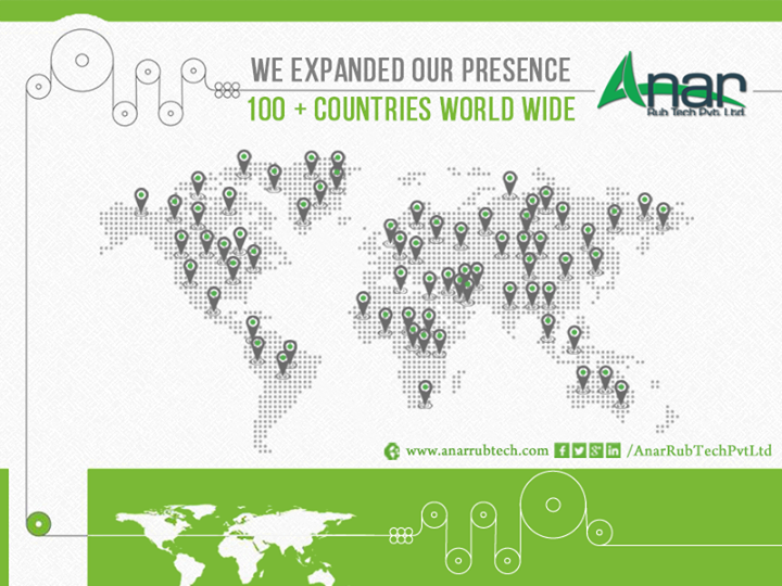 We expanded our presence to 100+ countries world wide  #AnarRubTech #RubberRoller #RubberExpander #Manufacturer