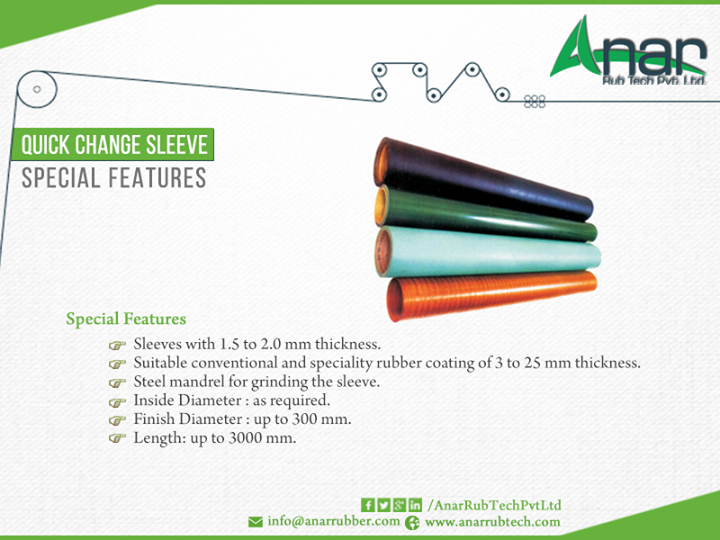 #Quick_Change_Sleeve,  #Sleeve with 1.5 to 2.0 mm thickness. Suitable Conventional and specialty #rubber #coating of 3 to 25 mm thickness. Steel mandrel for grinding the sleeve. Inside Diameter : as required. Finish Diameter : up to 300 mm. Length : up to 3000 mm. #AnarRubTech Pvt.Ltd