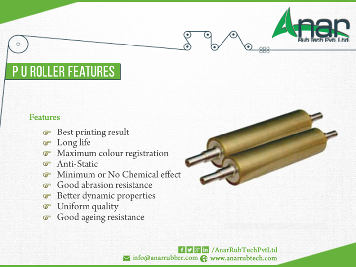 #PU-RollerFetures Best printing result  Long Life  Maximum Colour registration #Anti-Static  Minimum or No Chemical effect  Good abrasion resistance  Better dynamic properties  Uniform quality  Good ageing resistance #AnarRubTechPvtLtd