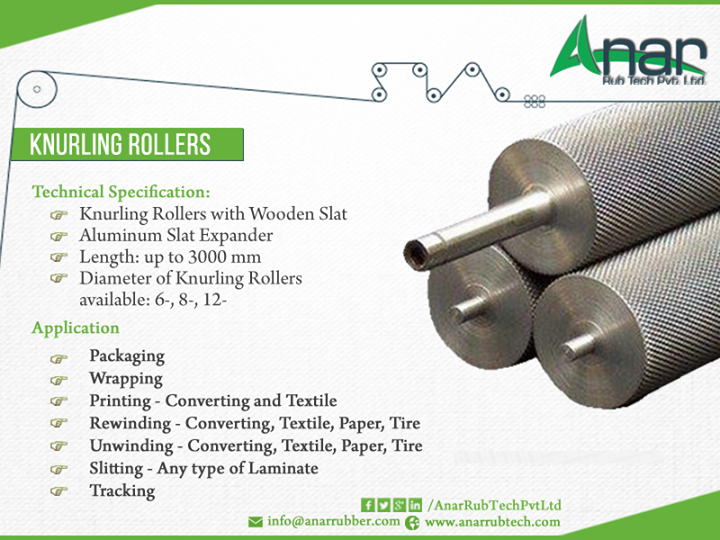 Anar Rub Tech,  Technical, KnurlingRollers, Aluminum, Slat, Expander, Pakaging, Wrapping, Printing-Converting, Textile, Rewinding-Converting,Textile,Paper,Tire, Unwinding-Converting,Textile,Paper,Tire, Slitting-Any, Laminate, Tracking