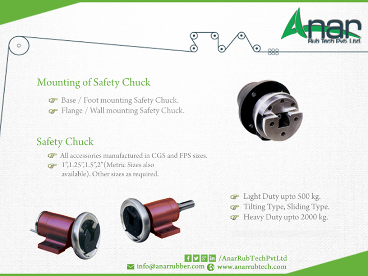 Mounting of Safety #Chuck   Base/Foot mounting Safety Chuck. Flange/Wall mounting Safety Chuck #SafetyChuck  All Accessories #manufactured in CGS and FPS sizes #AnarRubTechPvtLtd