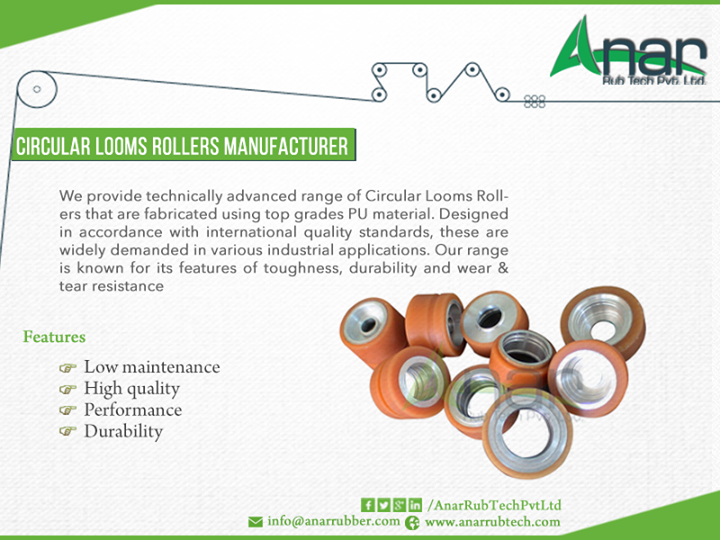 We are leading Manufacturer of #CircularLooms #Rollers. We provide technically advanced range of Circular Looms Rollers that are fabricated using top grades #PU material.  #AnarRubber #Roller #Manufacturer