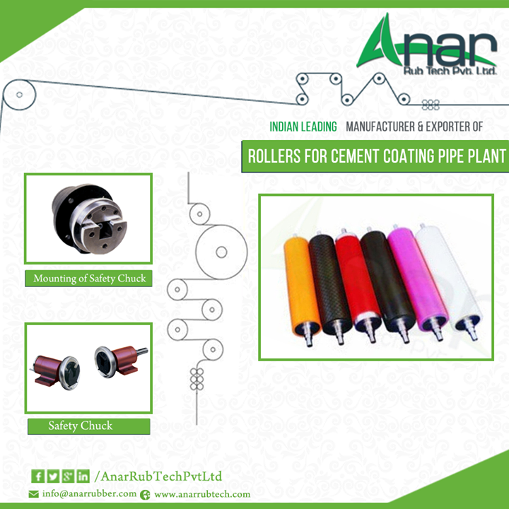 We are leading of #Manufacturer & #Exporter of Rollers For cement Coating Pipe Plant   #AnarRubber #Shaft #RollersForcement #Gujarat