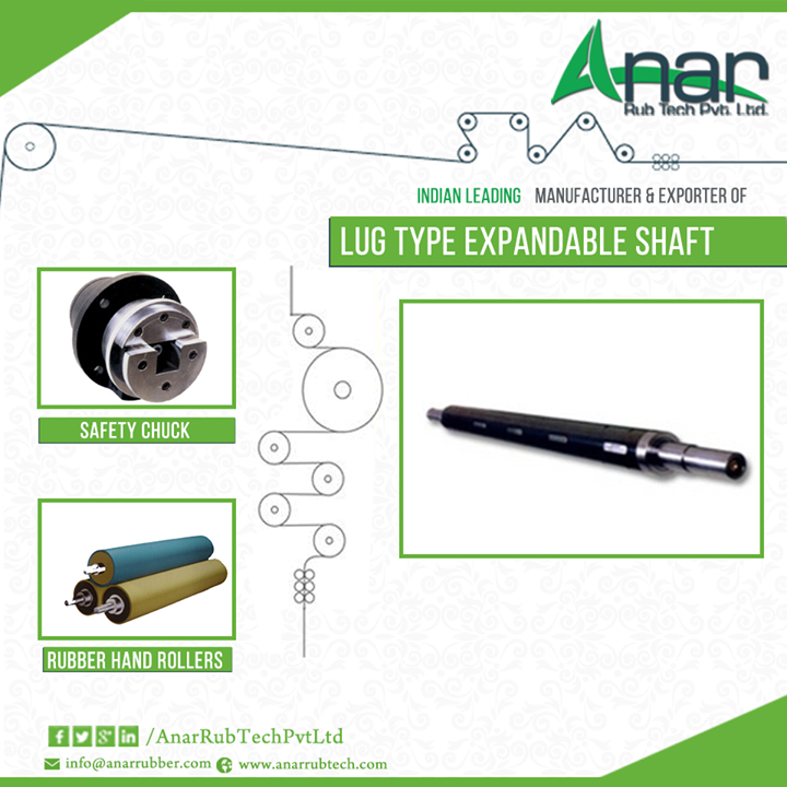 We are leading #Manufacturer & #Exporter of #LugTypeExpandableshaft #AnarRubber #LugTypeExpandableshaft #safetyChuck #RubberHandRollers