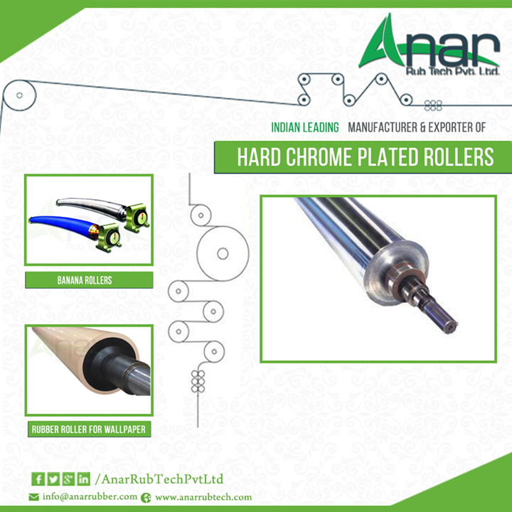 #Hardhromeplatedrollers come in excellent surface coating and quality finish which offers them great service life. These are #manufactured using superior quality materials and are widely available at affordable prices. They are great tools which find applications in different industries for making the #manufacturing procedure easy for the people. #Hardchromeplatedrollers are worth a buy considering the prices at which they are available at. Features of Hard Chrome Plated Rollers  Hard chrome plated #rollers are available in varied options such as aluminium, stainless steel and hard anodized aluminium rolls too. These are used in different sectors like automobiles, industrial engineering and mechanical engineering sectors. They are high in their strength and can even be fixed and moved very easily. Another great benefit of these #rollers is that they come in compact design and are corrosion resistant. These rollers with accurate dimension, high endurance, rust resistance and rugged design can be easily purchased at reasonable rates. #AnarRubTechPrivateLimited is a leading #manufacturer and #supplier of high quality hardchrome platedrollers in India.