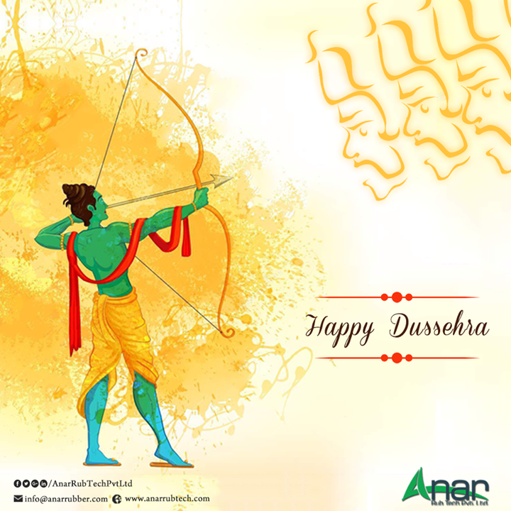 #AnaRubTechPvt.Ltd. wishes you happy and prosperous Dussehra with its infrastructure and facility services. We at Ana Rub Tech always work towards making your special occasions and festivals enjoyable and wonderful by #manufacturing the best #rubber products to be used in different #industries. By choosing products from our organisation, you have the option of enjoying your Dussehra with the assurance that the products bought from our company last forever. We wish you have a fun-filled #Dussehra by choosing our quality products which are meant to satisfy the requirements of our valued customers. All the products at Ana Rub Tech are produced under strict supervision by experienced and knowledgeable technicians and management. Quality of products is something that we do not compromise with and our best commitment and endeavour helps us in growing every day. We help you enjoy your festivals with real and wonderful happiness.