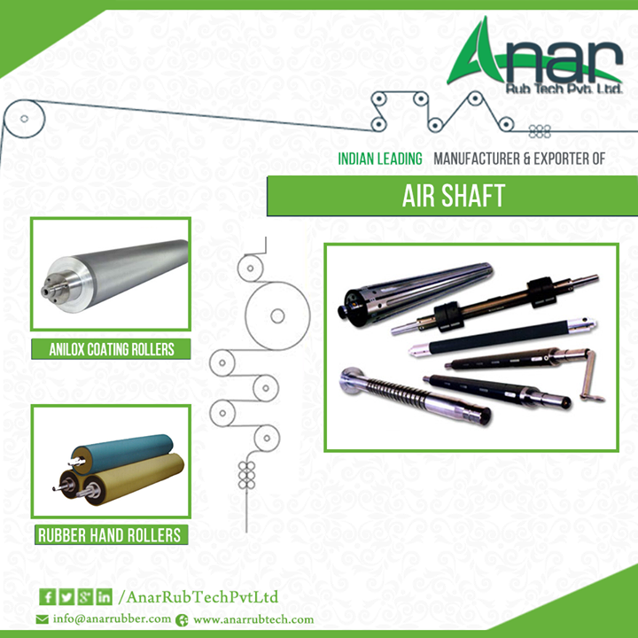 Air shaft is an important device which is widely used in industries for various purposes ......http://ow.ly/Hbso305fuvU  #AirShaft #AniloxCoatingRollers #RubberHandRollers #MechanicalExpandableshaft #AirExpandableshaft #AirShaftforPaperindustries #MechanicalShaft #MultiTubeShaft W: http://AnarRubTech.com/ E: marketing@anarrubber.com M: +91 9825405265
