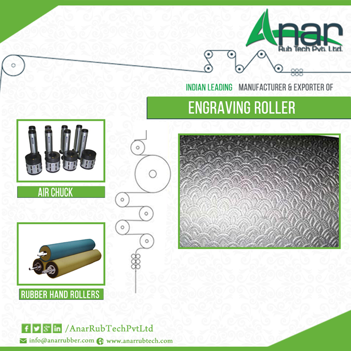 Types of embossing used to make rollers more functional  Embossing or engraving is the name given to a process of embossing or pressing a roller in order to improve its design and make it more functional. Through this process, the appearance, design and texture of the product are improved. This makes the product capable of processes like bulking, thermal bonding, making holes, anti-sticking, etc. Engraving rollers are generally used in the paper industry and numerous manufacturers are there producing engraving roller for paper industry.  Types of embossing patterns  Engraving can be done in a variety of ways. If you opt for one sided embossing, which is a combination of elastic roll and embossing roll, shallow patterns will be seen on the surface. Such rollers are generally used in paper textile films.  Both side embossing is a combination of woollen paper roll and embossing roll. In this process the pattern of the engraving roller is transferred to the surface of the woollen paper roll. It is useful for embossing deep pattern in papers, films, textiles and a lot more.  If you opt for tip to tip embossing, remember this is the process of bringing together two embossing rollers that have similar pattern and is in phase with each other. Hence, it can be said that Engraving roller for paper industry are of various types with each one having its respective uses. To buy the same, visit Anar Rub Tech today that is the leading engraving roller exporters among many.   #LeatherEmbossingRoller #LeatherEmbossingRollers #leatherembossingrollermanufacturer #AirChuck #RubberHand-Rollers #LeatherEmbossing-ROll #EmbossingRollers #Engravingrollerforpaperindustry  W: http://AnarRubTech.com/ E: marketing@anarrubber.com M: +91 9825405265