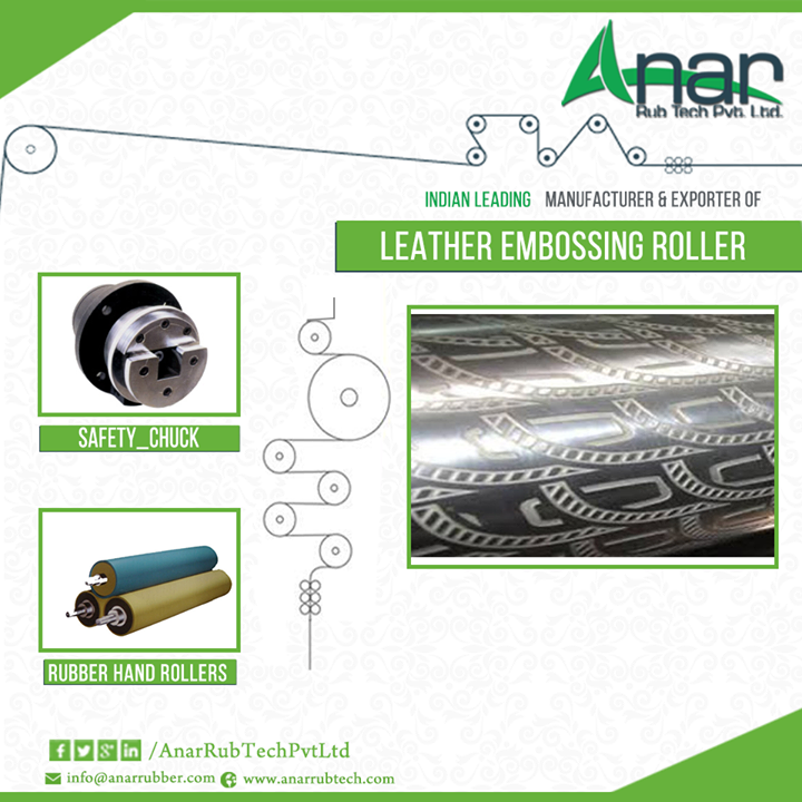 High demand for leather embossing rollers Roller is a very important a factor for any industry and embossing is a technique with which the utility of a roller can be increased. The process of pressing an embossed roll i.e. a roll with pattern engraved on its surface to a product is known as embossing and the rollers coated with this embossed sheet are known as Embossing rollers which are used for embossing on other materials. Leather embossing roller is a popular variation of these rollers. Constituent, function and usage The leather embossing roller is made of Aluminium alloy and shares a good rapport with the ink and ink stick and gives quality printing. Embossing is becoming a go to choice as it upgrades the texture, appearance and design of a product and the products become bulked up with thermal bonding and anti-sticking properties. Anar Rub Tech is the leading leather embossing roller manufacturer across the globe and their rollers are extensively used for imprinting on PU leather, tissue paper, PE sheets, floorings, PVC leather cloths, wallpapers, figure glass etc. Moreover, the company also manufactures custom made rollers with the material and designs according to the demand of the customers. #LeatherEmbossingRollers #LeatherEmbossingRoller #LeatherEmbossingRollerManufacturer #LeatherEmbossingRoll #SafetyChuck #RubberHandRollers  W: http://AnarRubTech.com/ E: marketing@anarrubber.com M: +91 9825405265