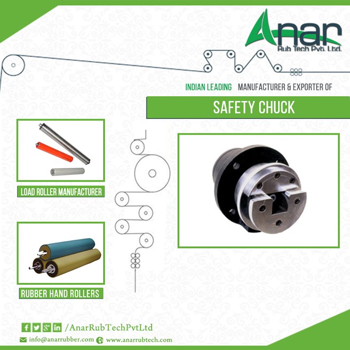 Safety Chucks from Anar Rub Tech  Safety chucks are holders or coupling device which helps in winding and unwinding. These chucks are known to transmit the torque into the roll. It also provides concentricity between roll shaft and chuck and the less the friction means less erosion. Anar Rub Tech is the most renowned safety chucks manufacturer and one can find all the varieties available in the market.   #SafetyChucks #safetyChucksManufacturer #LoadRollerManufacturer #RubberHandRollers #triangularshaft  W: http://AnarRubTech.com/ E: marketing@anarrubber.com M: +91 9825405265
