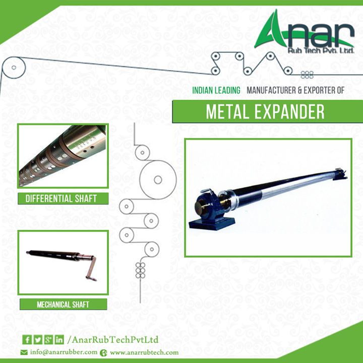 Purchase Affordable Metal Expander (Bow Roll)    Metal expander (Bow Rolls) is known to be the most suitable equipment used for high-speed textile, paper and pulp application. It is also termed as Banana rollers, Bow rollers or Wrinkle remover.  You need to buy such metal expanders from a reputable company. Anar Rub Tech, the metal expander (Bow Roll) exporter in India welcomes you to buy the best quality products, which can be customized as per your need.  #metalexpanderexporters #MetalExpander  #BowRoll #DifferntialShaft #MechanicalShaft #MetalExpanderRoller #MetalExpanderRollerManufacturer  W: http://AnarRubTech.com/ E: marketing@anarrubber.com M: +91 9825405265
