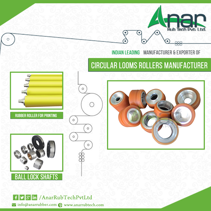 Circular loom rollers for heavy weight fabrics  Circular Loom Rollers have gained importance in the market of rollers. Such rollers are mainly used for weaving light as well as heavy weight flat or tubular fabrics. Circular Loom Rollers ensures fine and smooth weaving.   Numerous loom rollers manufacturers are presence and the most reliable name among them is Anar Rub Tech. They are also known as the leading exporters of circular loom rollers.  #Circular-loom-rollers #Circular-loom-rollers-manufacturer #manufacturer-of-Circular-loom-rollers #exporters-of-Circular-loom-rollers #Circular-loom-rollers-for-fabric-industry #Circular-loom-rollers-for-weaving-industry #Circular-loom-roller-manufacturer #loom-roller-manufacturer #Circular-loom-rubber-rollers #Circular-loom-rubber-roller-manufacturer  w: http://anarrubtech.com E: marketing@anarrubber.com M: +91 9825405265