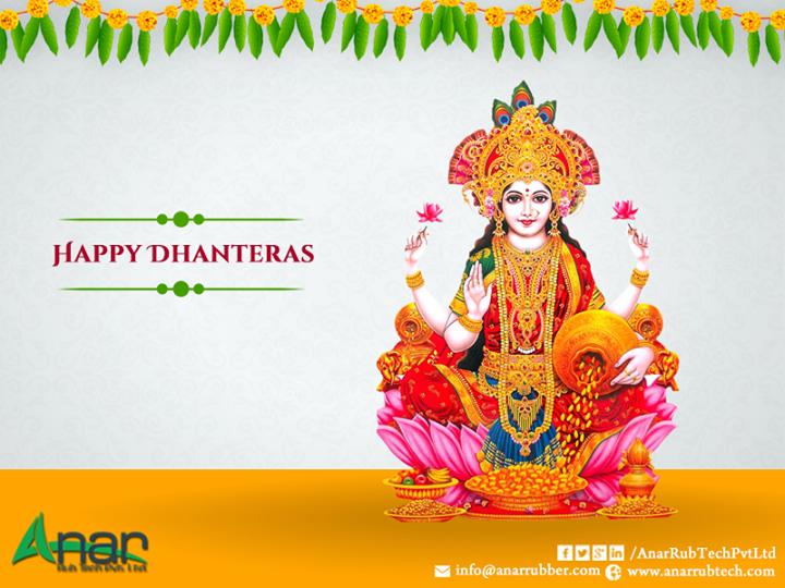 Dhanteras falls on the 13th Lunar Day and marks the beginning of Diwali festivities. This auspicious day is also called Dhanwantari Triodasi or Dhantrayodashi. On this day, Goddess Lakshmi is one of the most important deities worshipped by people. Goddess Lakshmi is said to offer well-being and prosperity. Ana Rub Tech also takes the opportunity of wishing all its clients Happy Dhanteras. We wish that your Dhanteras this year is a prosperous one and we make it ideal for you to have the best  with our infrastructure and facilities. Our product range for Dhanteras and include PU Rollers, Rubber Roller, Wrinkle Removers, HCP Roller, Air Shaft, Safety Chuck, Quick Change Sleeve, Embossing Rollers, Anilox Coating Rollers and Ink Circulating System. We wish that all our products can help you in having a safe, secure and prosperous Dhanteras. We never make any compromises with the quality of our products and also ensure that all our technicians are well-experienced.  #RubberRoller #AniloxCoatingRollers #AirShaft #SafetyChuck #PURollers