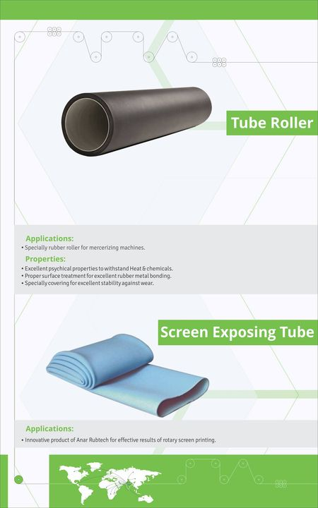 Anar Rubtech Pvt. Ltd. is leading manufacturer of Tube Roller and Screen Exposing Tube for Textile Industry. Applications of Tube Roller: -  - Specially rubber roller for mercerizing machines. Applications of Screen Exposing Tube: -  - Innovative product of Anar Rubtech for effective results of rotary screen printing. Properties of Tube Roller:-  - Excellent psychical properties to withstand Heat & chemicals. - Proper surface treatment for excellent rubber metal bonding. - Specially covering for excellent stability against wear. visit us at 10th India International Textile Machinery Exhibition, India ITME 2016 @ Mumbai - Hall No 2A, Stall No F10 - 03rd to 08th December 2016 #TubeRoller #ScreenExposingTube #TubeRollermanufacturer #ScreenExposingTubemanufacturer #TubeRollerforTextileIndustry #ScreenExposingTubeforTextileIndustry #BestTubeRollermanufacturer #BestScreenExposingTubemanufacturer #TubeRollersupplier #ScreenExposingTubesupplier #IndiaInternationalTextileMachineryExhibition w: http://anarrubtech.com/ E: marketing@anarrubber.com M: +91 9825405265