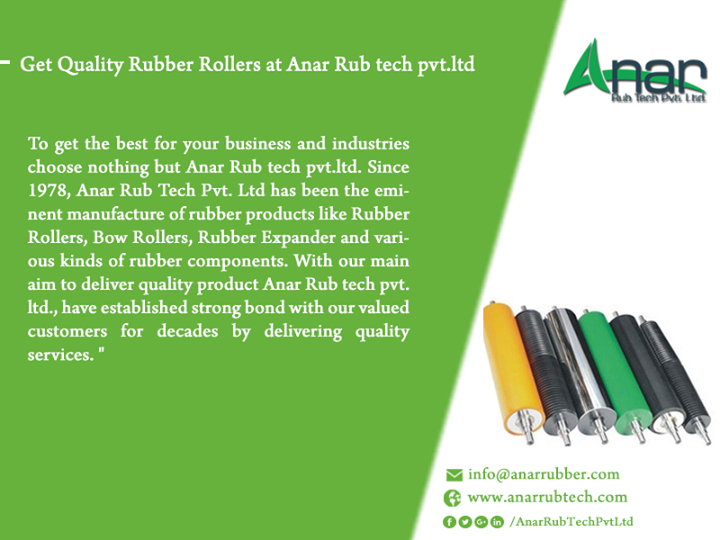 Get Quality Rubber Rollers at Anar Rub tech pvt.ltd