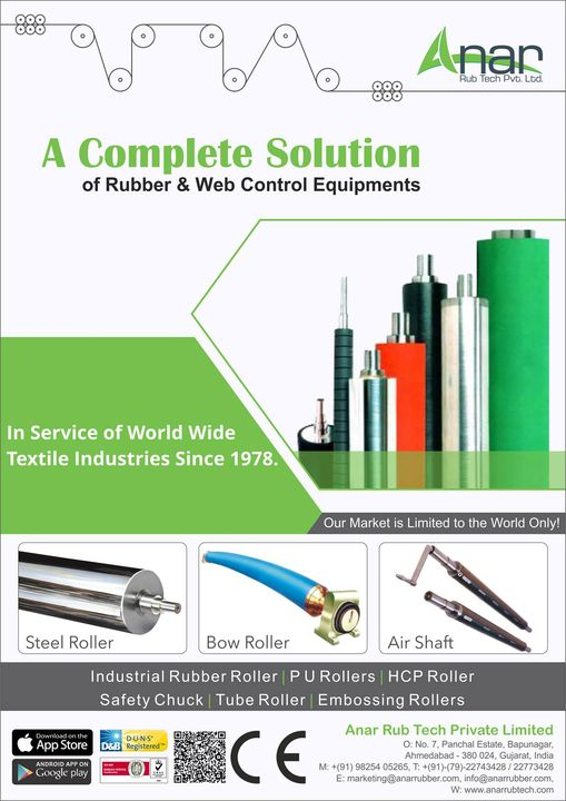 A Complete Solution of Rubber & Web Control Equipments in Service of World Wide Textile Industries Since 1978. #SteelRoller #BowRoller #AirShaft #IndustrialRubberRoller #PURollers #HCPRollers #SafetyChuck #TubeRoller #EmbossingRollers w: http://anarrubtech.com/  E: marketing@anarrubber.com  M: +91 9825405265