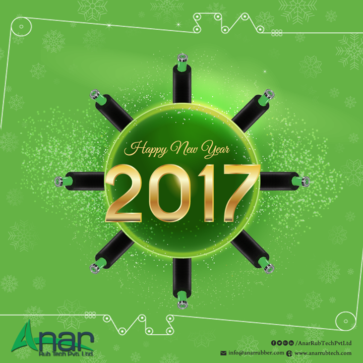 Happy New Year From Anar Rub Tech Pvt.Ltd  Anar Rub Tech Pvt. Ltd. takes this moment to wish you a very happy and prosperous New Year. May all your resolutions and your professional pursuits are successful this year. With our roller products, circulating systems and holding devices we wish that your New Year is filled with strength and power. #HappyNewYear #PURollers #AirExpandableShafts #AniloxRollers #EmbossingRollers w:http://anarrubtech.com/   E:marketing@anarrubber.com   M:+91 9825405265