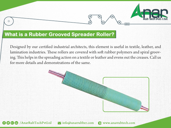What is a rubber grooved spreader roller?