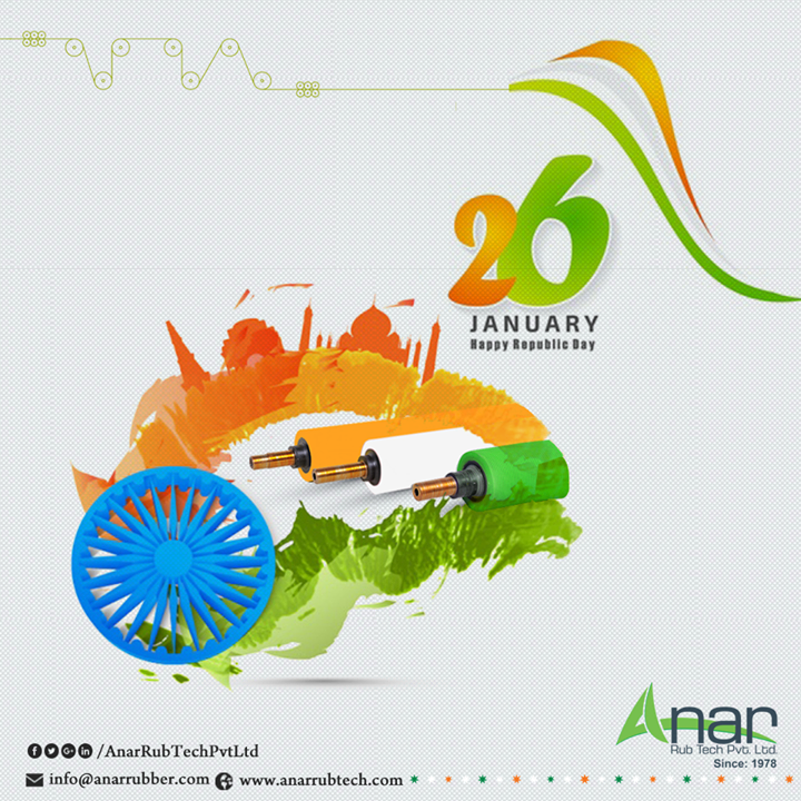 Happy Republic day from Anar Rub Tech Pvt Ltd Every year, on 26th January as colourful tableaus showcase the rich culture and technological advancement of all our Indian states, we feel the pride sniffing in the air as India is one of the nations standing in the first line. Come, let us join hands and spread the spirit of Republic Day, Anar Rub Tech Pvt Ltd wishes you all the prosperity and growth with the nation! #HappyRepublicday #PURollers   #AirExpandableShafts   #AniloxRollers   #EmbossingRollers   #Quickchangesleeve   #Inkcirculatingsystem   #WrinkleRemovingRolls  w:http://anarrubtech.com/   E:marketing@anarrubber.com   M:+91 9825405265