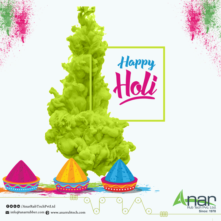 Happy Holi From Anar Rub Tech Pvt Ltd The festival of love, joy, and happiness has arrived. Celebrate the festival with lots of colors, water balloons and tempting sweets. Happy Holi. #HappyHoli #PURollers   #AirExpandableShafts   #AniloxRollers   #EmbossingRollers   #Quickchangesleeve   #Inkcirculatingsystem   #WrinkleRemovingRolls    w:http://anarrubtech.com/   E:marketing@anarrubber.com   M:+91 9825405265