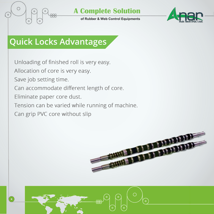 Quick Locks Advantages - Unloading of finished roll is very easy. - Allocation of core is very easy. - Save job setting time. - Can accommodate different length of core. - Eliminate paper core dust.  -Tension can be varied while running of machine.  -Can grip PVC core without slip. #QuickLocks #QuickLocksManufacturers  #QuickLocksSuppliers #QuickLocksExporters  #BestManufacturersofQuickLocks W:http://anarrubtech.com/   M:+919825405265