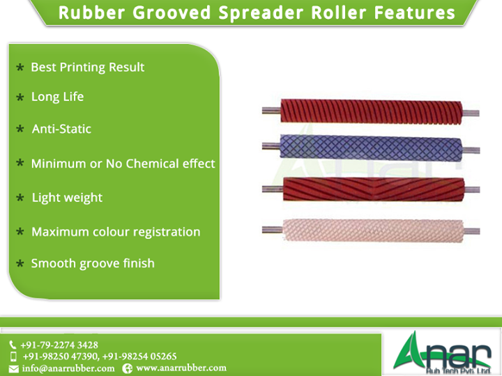 Rubber Grooved Spreader Roller Features  Best Printing Result Long Life Anti-Static Minimum or No Chemical effect Maximum colour registration Light weight Smooth groove finish #RubberGroovedSpreaderRoller #RubberGroovedSpreaderRollerManufacturers #RubberGroovedSpreaderRollerSuppliers #RubberGroovedSpreaderRollerExporters #BestManufacturersofRubberGroovedSpreaderRoller W:http://anarrubtech.com/