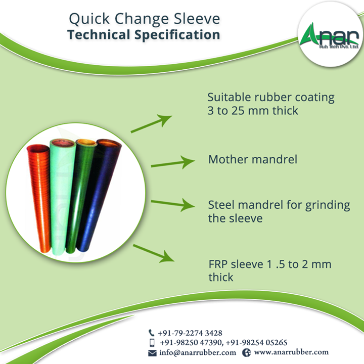 Technical Specification: -Suitable rubber coating 3 to 25 mm thick -Mother mandrel -Steel mandrel for grinding the sleeve -FRP sleeve 1 .5 to 2 mm thick #QuickChangeSleeveSpecification #QuickChangeSleeve #QuickChangeSleeveManufacturers  #QuickChangeSleeveSuppliers  #QuickChangeSleeveExporters #BestManufacturersofQuickChangeSleeve W:http://anarrubtech.com/