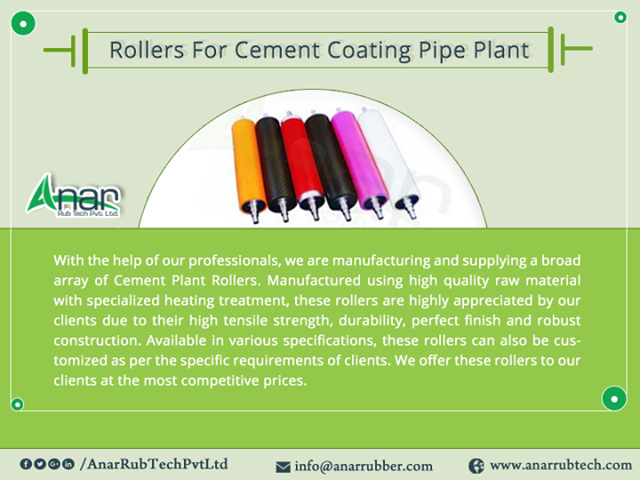 With the help of our professionals, we are manufacturing and supplying a broad array of Cement Plant Rollers. Manufactured using high quality raw material with specialized heating treatment, these rollers are highly appreciated by our clients due to their high tensile strength, durability, perfect finish and robust construction. Available in various specifications, these rollers can also be customized as per the specific requirements of clients. We offer these rollers to our clients at the most competitive prices. RollersForCementCoatingPipePlant # CementCoatingPipePlant #CementCoatingPipePlantManufacturers #CementCoatingPipePlantSuppliers #CementCoatingPipePlantExporters  #BestManufacturersofCementCoatingPipePlant W:http://anarrubtech.com/  M:+919825405265