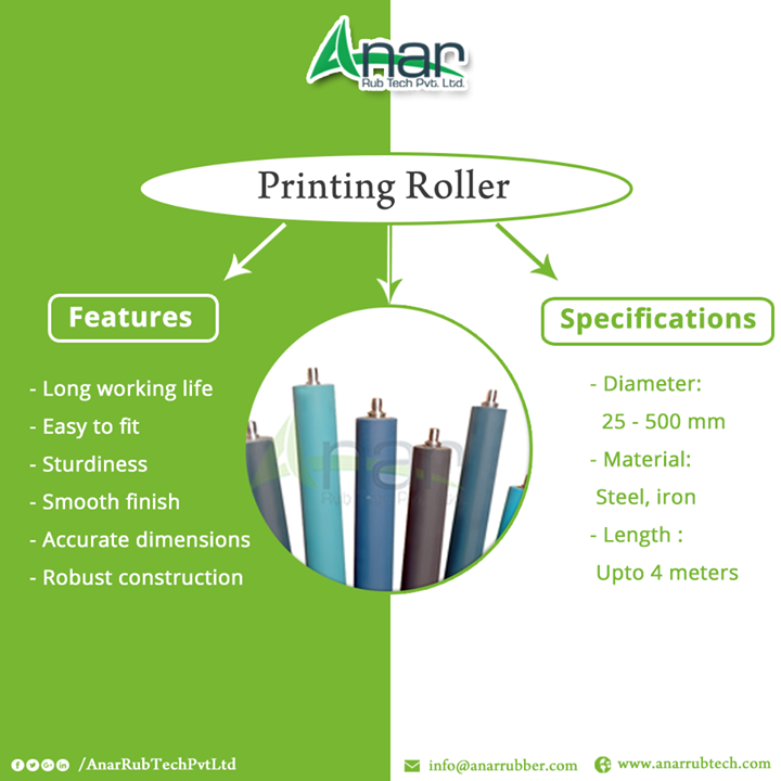 Features: -Long working life -Easy to fit -Sturdiness -Smooth finish -Accurate dimensions -Robust construction Specifications:: -Diameter: 25 - 500 mm -Material: Steel, iron -Length : Upto 4 meters: Printing Roller  # PrintingRoller #PrintingRollerManufacturers #PrintingRollerSuppliers #PrintingRollerExporters  #BestManufacturersofPrintingRoller W:http://anarrubtech.com/  M:+919825405265