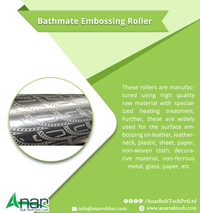 These rollers are manufactured using high quality raw material with specialized heating treatment. Further, these are widely used for the surface embossing on leather, leatherneck, plastic, sheet, paper, non-woven cloth, decorative material, non-ferrous metal, glass, paper, etc. #BathmateEmbossingRoller #BathmateEmbossingRollerManufacturers #BathmateEmbossingRollerSuppliers #BathmateEmbossingRollerExporter #BestManufacturersBathmateEmbossingRoller w:http://anarrubtech.com/  E:marketing@anarrubber.com  M:+91 9825405265