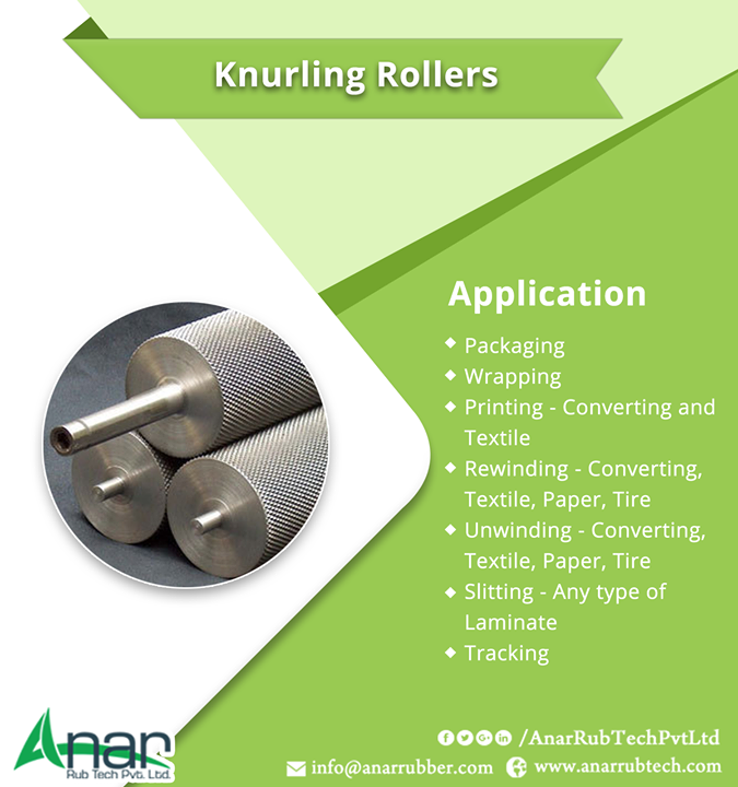 Knurling Rollers Application Packaging Wrapping Printing - Converting and Textile Rewinding - Converting, Textile, Paper, Tire Unwinding - Converting, Textile, Paper, Tire Slitting - Any type of Laminate Tracking #KnurlingRollers  #KnurlingRollersManufacturers  #KnurlingRollersSuppliers  #KnurlingRollersExporters  #BestManufacturersofKnurlingRollers  W:http://anarrubtech.com/