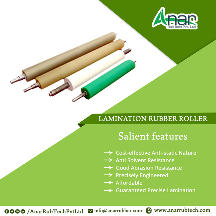 LAMINATION RUBBER ROLLER features - Cost-effective Anti-static Nature - Anti Solvent Resistance - Good Abrasion Resistance - Precisely Engineered - Affordable - Guaranteed Precise Lamination #LaminationRubberRollers #LaminationRubberRollersManufacturers  #LaminationRubberRollersSuppliers  #LaminationRubberRollersExporters #BestManufacturersofLaminationRubberRollers w:http://anarrubtech.com/
