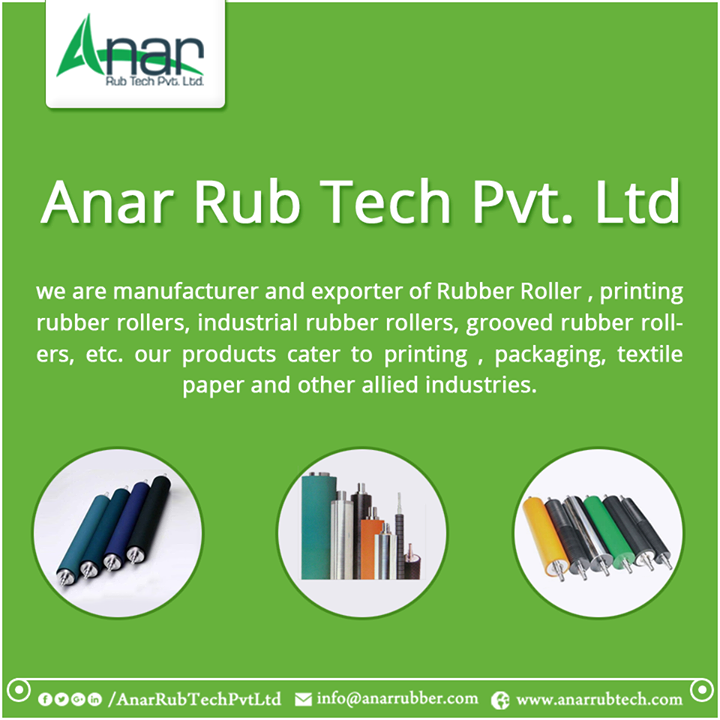 we are Manufacturer and Exporter of Rubber Roller , printing rubber rollers, industrial rubber rollers, grooved rubber rollers, etc. our products cater to printing , packaging, textile paper and other allied industries. #RubberRoller #printingRubberRollers #IndustrialRubberRollers #GroovedRubberRollers w:http://anarrubtech.com/