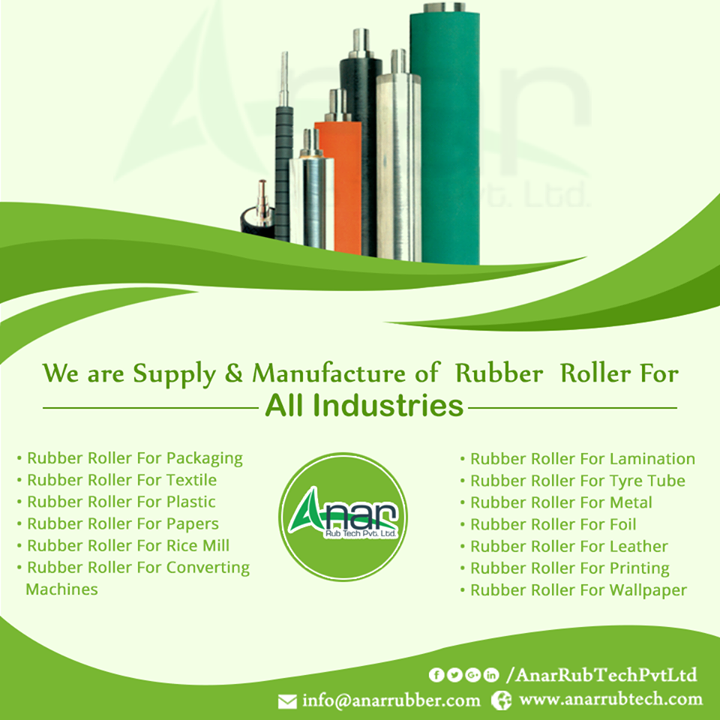 We are supply & Manufacturers of Rubber Roller for All Industries #RubberRoller #RubberRollerManufacturers #RubberRollerSuppliers #RubberRollerExporters w:http://anarrubtech.com/