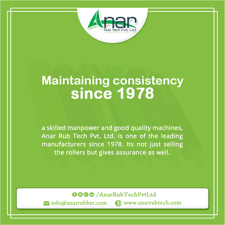 A skilled manpower and good quality machines, Anar Rub Tech Pvt. Ltd. is one of the leading manufacturers since 1978. Its not just selling the rollers but gives assurance as well. #IndustrialRubberRollerManufacturers #AirshaftManufacturers #GuideRollerManufacturers #EPDMSleeveManufacturers #EPDMRubberRollerManufacturers w:http://anarrubtech.com/