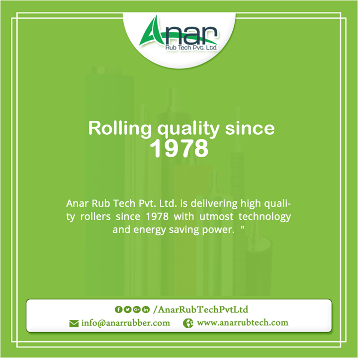 Anar Rub Tech Pvt. Ltd. is delivering high quality rollers since 1978 with utmost technology and energy saving power.  #RubberRoller   #RubberRollerManufacturers   #RubberRollerSuppliers   #RubberRollerExporters   W:http://anarrubtech.com