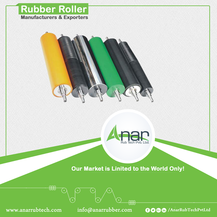 Anar Rub Tech Pvt. ltd. manufactures premium rubber rollers which are made by finest quality rubber for even surfacing. We manufacture the rollers with diameter of 600 mm and the length up to 8000 mm. There is an excellent rubber finish without getting porous. Superior quality rollers are used in any printing industry which satisfies clients across the globe. #RubberRollers #RubberRollersManufacturers #RubberRollersExporters #RubberRollersSuppliers