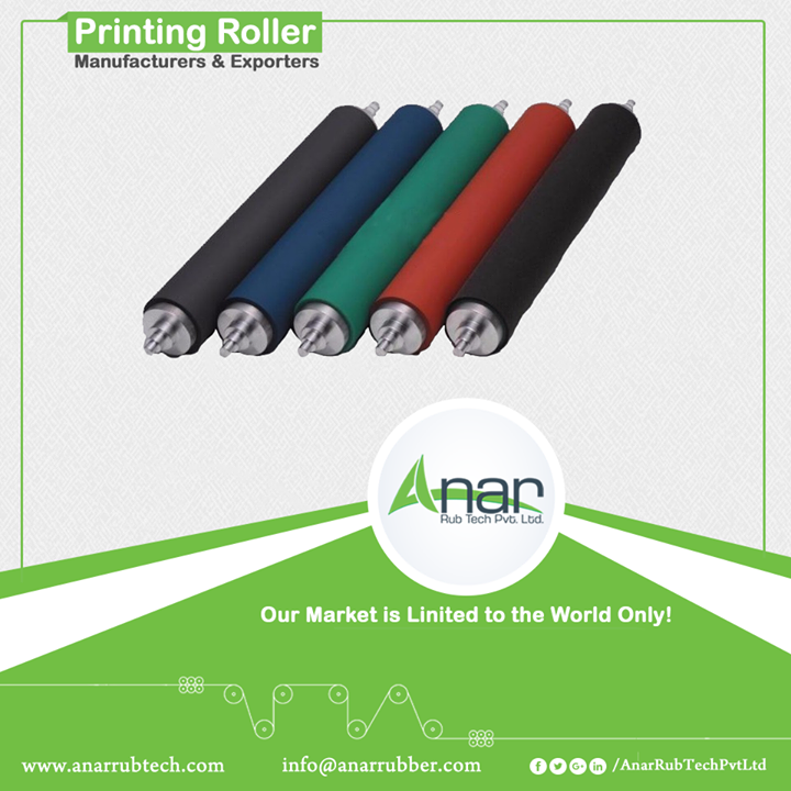 Anar is a trusted company when it comes to printing rollers. Printing rollers are manufactured with advanced features which gives even ink distribution and low heat build ups. Cost savings and long lasting life are the attractions for supplying a rubber roller. Being one of the important machine in any industry, Printing roller is highly used in printing and laminating industries.