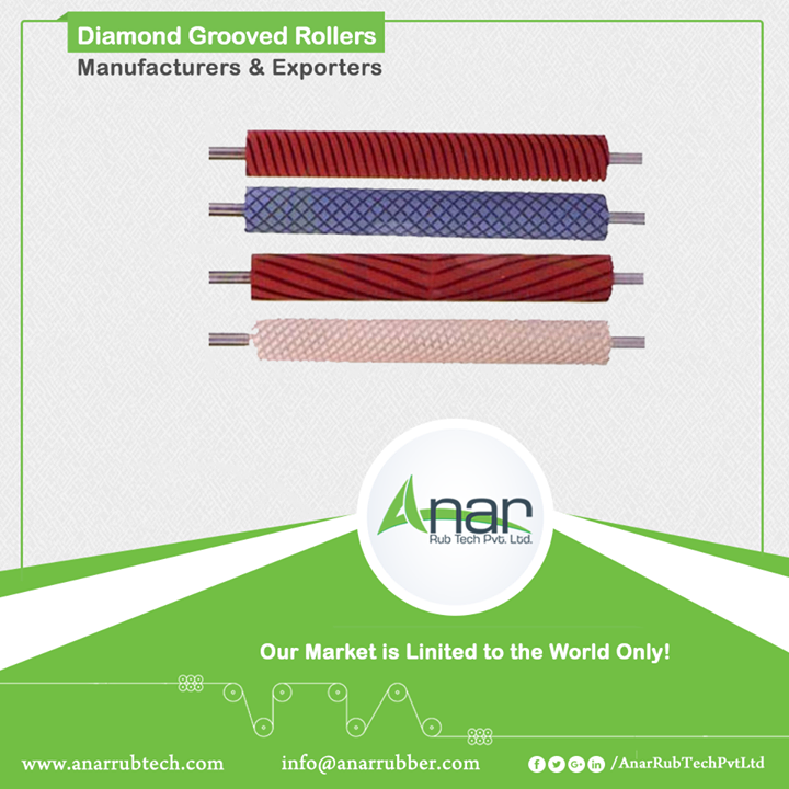 Diamond Grooved Rollers Manufacturers & Exporters  Available in different sizes and shapes, Grooved rollers are highly adaptable. Also known as chequered rollers, it leaves a unique impression on every surface. Anar is building up a new product with engineered mechanism to give the best quality to its consumers. Used in paper and printing industries, diamond grooved rollers with stand out as a unique product by Anar. #DiamondGroovedRollers #DiamondGroovedRollersManufacturers #DiamondGroovedRollersExporters #DiamondGroovedRollersSuppliers w:http://anarrubtech.com/   E:marketing@anarrubber.com   M:+91 9825405265