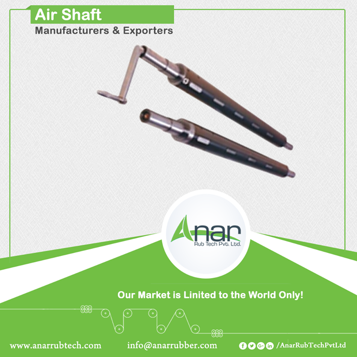 Air Shaft Manufacturers & Exporters We have assorted range of shafts by Anar which satisfies clients for every particular need. Air shafts with speed of up to 1000 meters/min and width of minimum 20 mm serves every state purpose with utmost satisfaction. It is mainly suitable for core materials like paper, steel and thermoplastics and is used in the likely industries.   #AirShaft #AirshaftManufacturers #AirshaftExporters #AirshaftSuppliers w:http://anarrubtech.com/   E:marketing@anarrubber.com   M:+91 9825405265