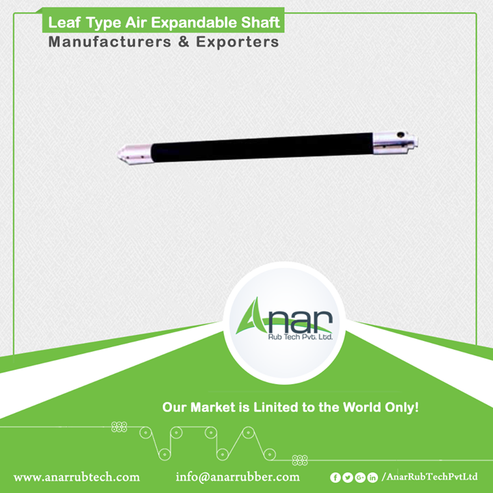 Leaf Type Air shaft is another eminent product Air Expandable Shafts by Anar which is ideal for unwinding stage. With narrow width of core, it reduces damage to thin cores. As it is feasible for core-less winding, most of high-tech plants adopt this and used appropriately in any printing presses. #LeafTypeAirExpandableShaft #LeafTypeAirExpandableShaftManufacturers #LeafTypeAirExpandableShaftExporters #LeafTypeAirExpandableShaftSuppliers w:http://anarrubtech.com/   E:marketing@anarrubber.com   M:+91 9825405265