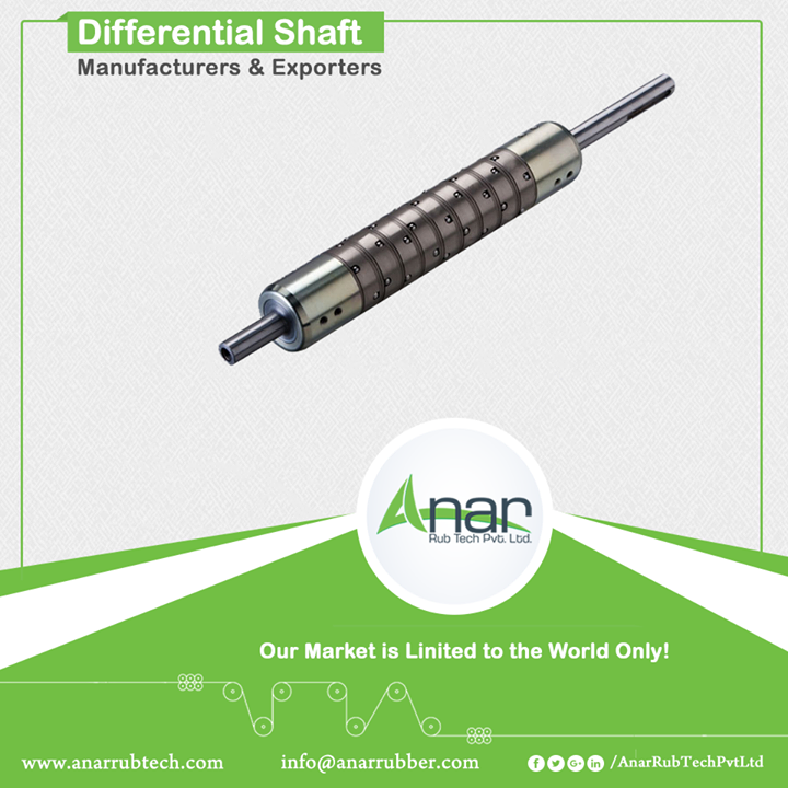 Differential Shaft Manufacturers & Exporters Anar manufactures Differential Air Shaft which is competent to perform multiple roll at a same time. Like Lug Type Shaft, Differential is also available for core I.D. 3 and 6. It handles the load of up to 2 tons. Comprising rubber blades, slotted shaft, hard and ground steel cage with ball type gripper. Moreover, we deliver the shafts within a short range of time after the orders received.  #DifferentialShaft #DifferentialShaftManufacturers #DifferentialShaftExporters #DifferentialShaftSuppliers w:http://anarrubtech.com/   E:marketing@anarrubber.com   M:+91 9825405265