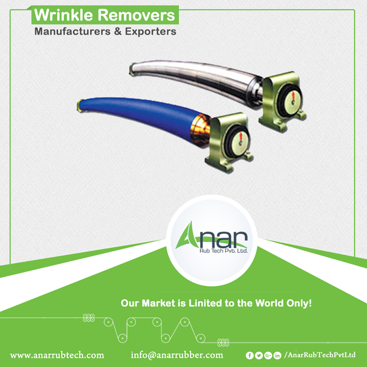 Wrinkle Remover by Anar removes every uneven surface while functioning. It is mostly available in sizes of 90 mm to 140 mm, otherwise as per requirement. Its length could be up to 2500 mm. It smoothly separates the web after slitting whatever the thickness of a web is. This machinery is mostly used in fabric and paper industries. #WrinkleRemoversRoller #WrinkleRemoversRollerManufacturers #WrinkleRemoversRollerExporters #WrinkleRemoversRollerSuppliers