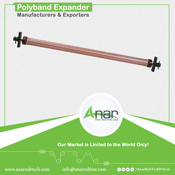 Consisting of aluminium pipe and highly elastic polymer cord, polyband expander is another renowned product of Anar. Elastic poly bands are uniformly distributed around the axial profile grooves. To get a crease-free expansion on the web, polyband expander works by stretching on a diameter of 90 mm or 140 mm. It is highly utilised for thin films and also in paper and textile industry. #PolybandExpander #PolybandExpanderManufacturers #PolybandExpanderExporters #PolybandExpanderSuppliers
