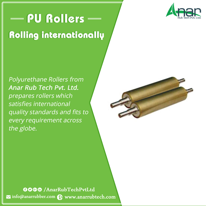 Polyurethane Rollers from Anar Rub Tech Pvt. Ltd. prepares rollers which satisfies international quality standards and fits to every requirement across the globe. #PURollers  #PURollersManufacturers  #PURollersExporters  #PURollersSuppliers  w:http://anarrubtech.com/   E:marketing@anarrubber.com   M:+91 9825405265