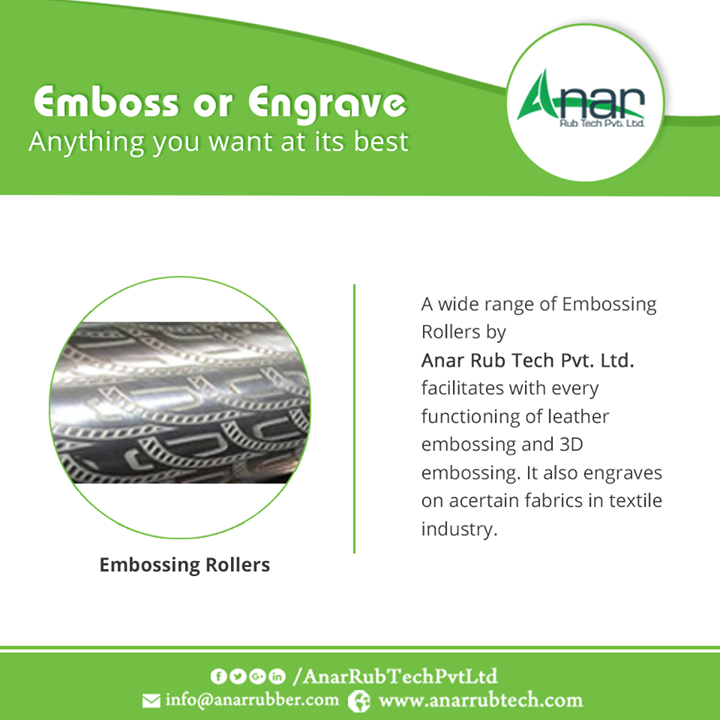 A wide range of Embossing Rollers by Anar Rub Tech Pvt. Ltd. facilitates with every functioning of leather embossing and 3D embossing. It also engraves on a certain fabrics in textile industry.  #EmbossingRoller  #EmbossingRollerManufacturers  #EmbossingRollerExporters  #EmbossingRollerSuppliers