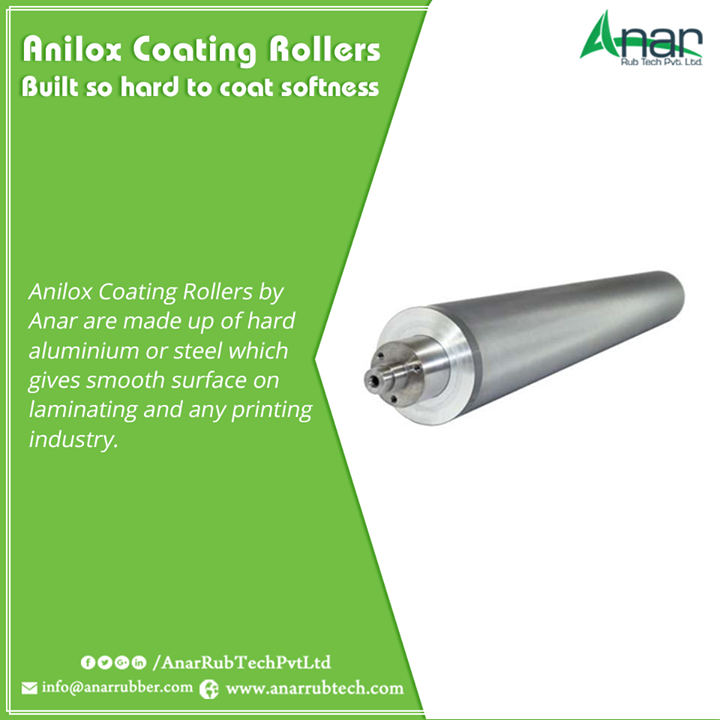 Anilox Coating Rollers by Anar are made up of hard aluminium or steel which gives smooth surface on laminating and any printing industry.  #AniloxRollers  #AniloxRollersManufacturers  #AniloxRollersExporters  #AniloxRollersSuppliers