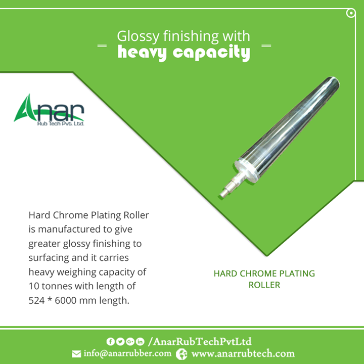 Hard Chrome Plating Roller is manufactured to give greater glossy finishing to surfacing and it carries heavy weighing capacity of 10 tonnes with length of 524 * 6000 mm length. #HardChromePlatedRoller #HardChromeRollers #HardChromePlatedRollerManufacturers #HardChromeRollersManufacturers #HardChromePlatedRollerSuppliers